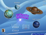 The title screen helps to demonstrate the similarity of marbles and planets.